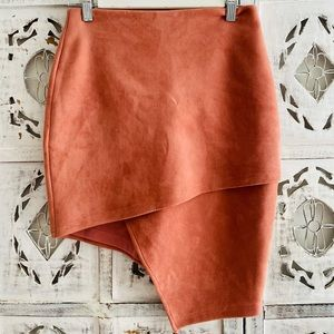 Dusty pink faux suede skirt